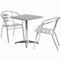 Flash Furniture 23.5'' Square Aluminum Indoor-Outdoor Table with 2 Slat Back Chairs