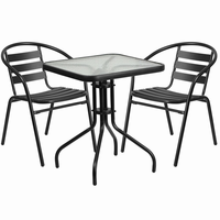 Flash Furniture 23.5'' Square Glass Metal Table with 2 Black Metal Aluminum Slat Stack Chairs