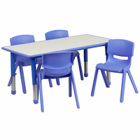 Flash Furniture 23.625''W x 47.25''L Adjustable Rectangular Blue Plastic Activity Table Set with 4 School Stack Chairs