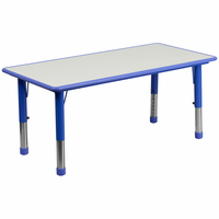 Flash Furniture 23.625''W x 47.25''L Height Adjustable Rectangular Blue Plastic Activity Table with Grey Top
