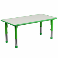 Flash Furniture 23.625''W x 47.25''L Height Adjustable Rectangular Green Plastic Activity Table with Grey Top