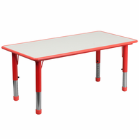 Flash Furniture 23.625''W x 47.25''L Height Adjustable Rectangular Red Plastic Activity Table with Grey Top