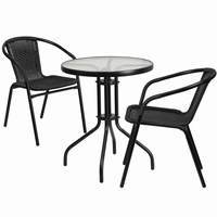 Flash Furniture 23.75'' Round Glass Metal Table with 2 Black Rattan Stack Chairs