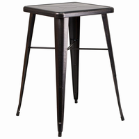 Flash Furniture 23.75'' Square Black-Antique Gold Metal Indoor-Outdoor Bar Height Table