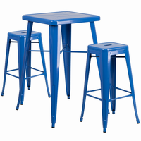 Flash Furniture 23.75'' Square Blue Metal Indoor-Outdoor Bar Table Set with 2 Square Seat Backless Barstools