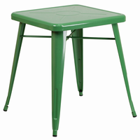 Flash Furniture 23.75'' Square Green Metal Indoor-Outdoor Table