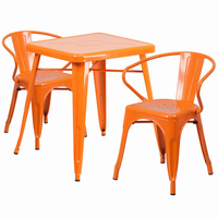 Flash Furniture 23.75'' Square Orange Metal Indoor-Outdoor Table Set with 2 Arm Chairs