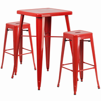 Flash Furniture 23.75'' Square Red Metal Indoor-Outdoor Bar Table Set with 2 Square Seat Backless Barstools
