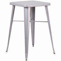 Flash Furniture 23.75'' Square Silver Metal Indoor-Outdoor Bar Height Table