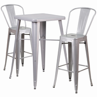 Flash Furniture 23.75'' Square Silver Metal Indoor-Outdoor Bar Table Set with 2 Barstools with Backs