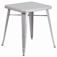 Flash Furniture 23.75'' Square Silver Metal Indoor-Outdoor Table