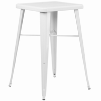Flash Furniture 23.75'' Square White Metal Indoor-Outdoor Bar Height Table