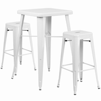 Flash Furniture 23.75'' Square White Metal Indoor-Outdoor Bar Table Set with 2 Square Seat Backless Barstools