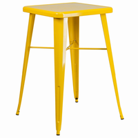 Flash Furniture 23.75'' Square Yellow Metal Indoor-Outdoor Bar Height Table
