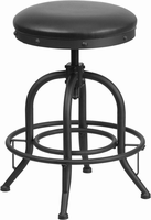 Flash Furniture 24'' Counter Height Stool with Swivel Lift Black Leather Seat