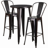 Flash Furniture 24'' Round Black-Antique Gold Metal Indoor-Outdoor Bar Table Set with 2 Cafe Barstools