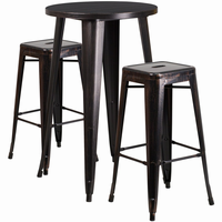 Flash Furniture 24'' Round Black-Antique Gold Metal Indoor-Outdoor Bar Table Set with 2 Square Seat Backless Barstools