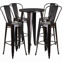 Flash Furniture 24'' Round Black-Antique Gold Metal Indoor-Outdoor Bar Table Set with 4 Cafe Barstools