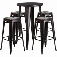 Flash Furniture 24'' Round Black-Antique Gold Metal Indoor-Outdoor Bar Table Set with 4 Square Seat Backless Barstools