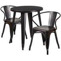 Flash Furniture 24'' Round Black-Antique Gold Metal Indoor-Outdoor Table Set with 2 Arm Chairs