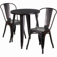 Flash Furniture 24'' Round Black-Antique Gold Metal Indoor-Outdoor Table Set with 2 Cafe Chairs