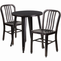 Flash Furniture 24'' Round Black-Antique Gold Metal Indoor-Outdoor Table Set with 2 Vertical Slat Back Chairs