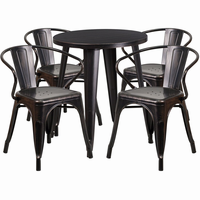 Flash Furniture 24'' Round Black-Antique Gold Metal Indoor-Outdoor Table Set with 4 Arm Chairs