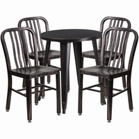 Flash Furniture 24'' Round Black-Antique Gold Metal Indoor-Outdoor Table Set with 4 Vertical Slat Back Chairs