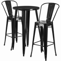 Flash Furniture 24'' Round Black Metal Indoor-Outdoor Bar Table Set with 2 Cafe Barstools