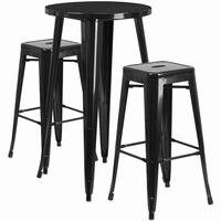 Flash Furniture 24'' Round Black Metal Indoor-Outdoor Bar Table Set with 2 Square Seat Backless Barstools