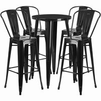 Flash Furniture 24'' Round Black Metal Indoor-Outdoor Bar Table Set with 4 Cafe Barstools