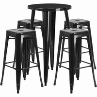 Flash Furniture 24'' Round Black Metal Indoor-Outdoor Bar Table Set with 4 Square Seat Backless Barstools