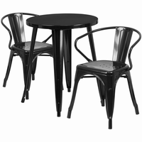 Flash Furniture 24'' Round Black Metal Indoor-Outdoor Table Set with 2 Arm Chairs