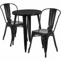 Flash Furniture 24'' Round Black Metal Indoor-Outdoor Table Set with 2 Cafe Chairs