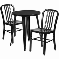 Flash Furniture 24'' Round Black Metal Indoor-Outdoor Table Set with 2 Vertical Slat Back Chairs