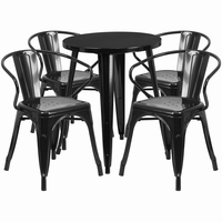 Flash Furniture 24'' Round Black Metal Indoor-Outdoor Table Set with 4 Arm Chairs