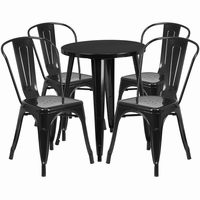 Flash Furniture 24'' Round Black Metal Indoor-Outdoor Table Set with 4 Cafe Chairs