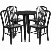 Flash Furniture 24'' Round Black Metal Indoor-Outdoor Table Set with 4 Vertical Slat Back Chairs
