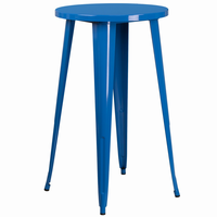 Flash Furniture 24'' Round Blue Metal Indoor-Outdoor Bar Height Table