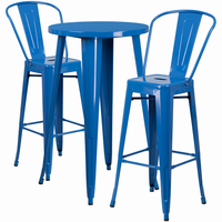 Flash Furniture 24'' Round Blue Metal Indoor-Outdoor Bar Table Set with 2 Cafe Barstools