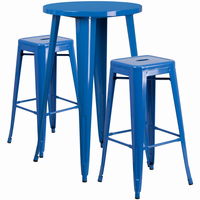 Flash Furniture 24'' Round Blue Metal Indoor-Outdoor Bar Table Set with 2 Square Seat Backless Barstools