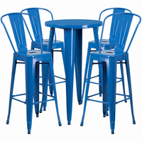Flash Furniture 24'' Round Blue Metal Indoor-Outdoor Bar Table Set with 4 Cafe Barstools