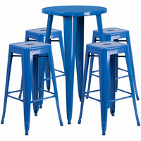 Flash Furniture 24'' Round Blue Metal Indoor-Outdoor Bar Table Set with 4 Square Seat Backless Barstools