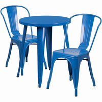 Flash Furniture 24'' Round Blue Metal Indoor-Outdoor Table Set with 2 Cafe Chairs