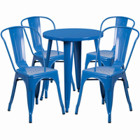 Flash Furniture 24'' Round Blue Metal Indoor-Outdoor Table Set with 4 Cafe Chairs