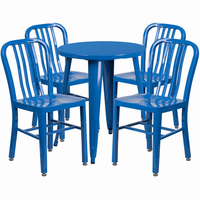 Flash Furniture 24'' Round Blue Metal Indoor-Outdoor Table Set with 4 Vertical Slat Back Chairs