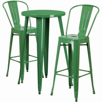 Flash Furniture 24'' Round Green Metal Indoor-Outdoor Bar Table Set with 2 Cafe Barstools