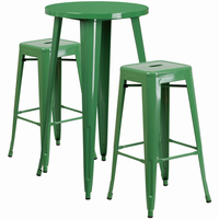 Flash Furniture 24'' Round Green Metal Indoor-Outdoor Bar Table Set with 2 Square Seat Backless Barstools
