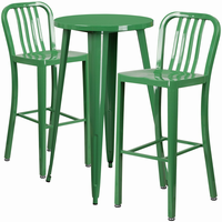 Flash Furniture 24'' Round Green Metal Indoor-Outdoor Bar Table Set with 2 Vertical Slat Back Barstools