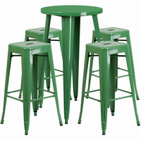 Flash Furniture 24'' Round Green Metal Indoor-Outdoor Bar Table Set with 4 Square Seat Backless Barstools